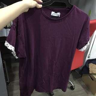 TOPMAN Folded Patterned Sleeve purple crew neck tee shirt