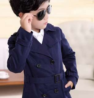Children Boy Navy Blue Winter Trench Coat