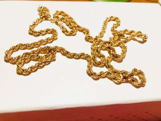 9ct (375) Solid Yellow Gold Long Rope Chain 84cm Long Opened Out Weighs 17.07gm