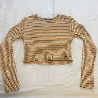 F21 stripe long sleeve crop top
