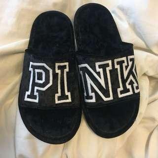 Vs PINK velvet slippers (black)