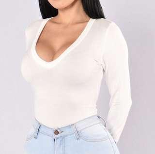 Fashion Nova White Long Sleeve Bodysuit