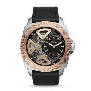 Fossil Watch! Privateer Sport Mechanical Black Leather Watch!