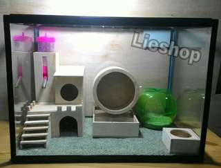 terarium / kandang / aquarium hamster set minimalis (medium)