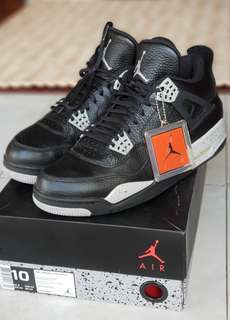 "Rare Air Jordan 4 Retro LS ""OREO"" Black/Tech Grey-Black ukuran 44"