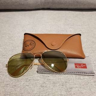 Authentic Ray Ban Aviator Gradient Gold UV Protection Sunglasses