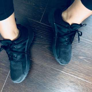 Adidas black running shoe