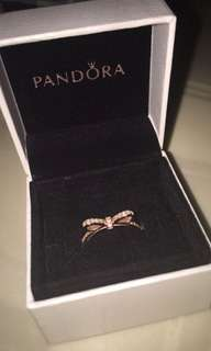 New PANDORA Rosegold Bow tie Ring Size 50(5)