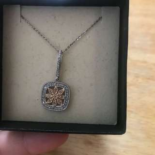 14K white gold, rose gold, diamond pendant and chain