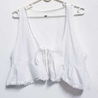 White Crop Top with Frills