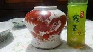古董紅獅瓶