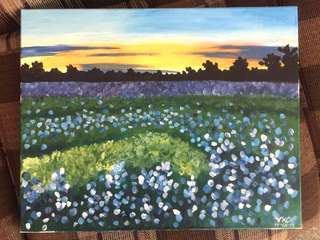 Sunset at Lavender Fields - Acrylic on canvass painting