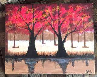 The Red Forest - Acrylic on canvass painting