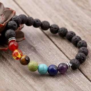 7 chakra meditation beads with black lava beads bracelet