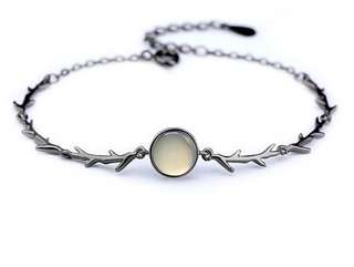 NEW moonstone & gun metal coloured bracelet
