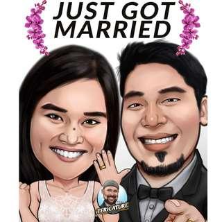 June Wedding Caricature