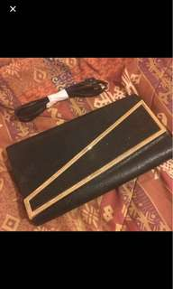 Ever new black wallet with gold rim and glitter side