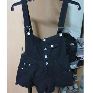Black Distressed Denim Jumper Shorts