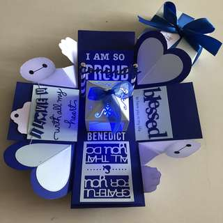 Baymax congrats explosion box with lighthouse in blue and navy