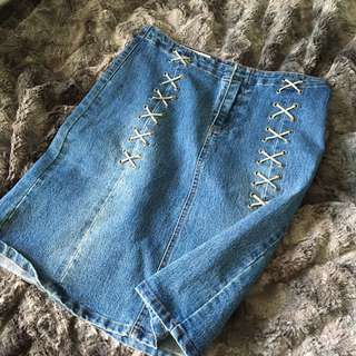 Vintage High Wasted Jean Skirt