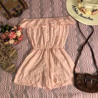 peach off the shoulder romper