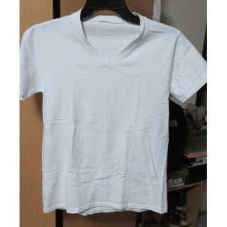 Plain White V-neck Shirt