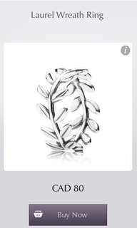 PRICE DROP: Pandora Laurel Leaf Ring