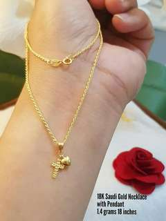 18k saudi gold necklace with heart & cross pendant