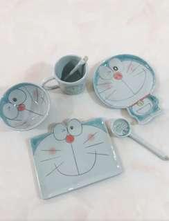 日本 手工陶瓷 多啦a夢 叮噹 碗 碟