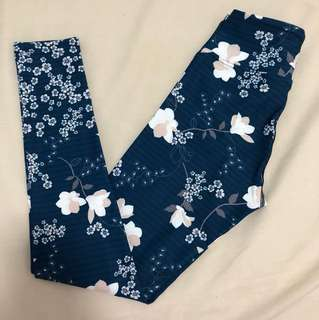 NEW Dharma Bums high quality high waist navy blue print yoga gym workout leggings tights high waisted floral stripes size xs