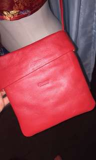 REAL ITALIAN LEATHER RED SIDE BAG