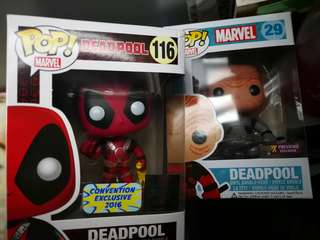 Funko deadpool with chicken and unmasked (ideal for non MIB collector) exclusive figurines