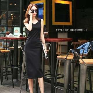 Dark Grey Slit Dress