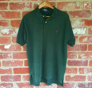Ralph Lauren Olive Green Polo Shirt L Red Pony Logo