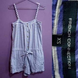 French Connection Striped Blue Romper