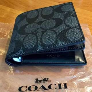 BN Authentic Coach Mens Wallet in Signature charcoal black