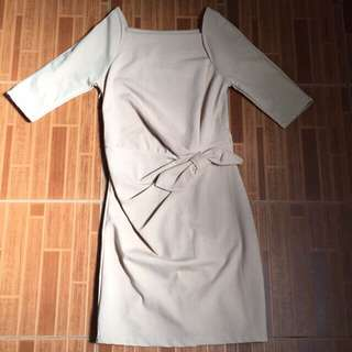 Beige office wear dress
