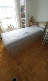 Single wooden bed with 3 drawers and headboard