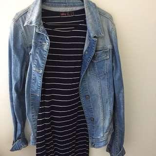 Dress navy white stripe