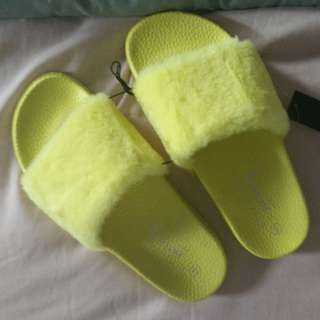 Yellow Faux Fur Slides Sandals