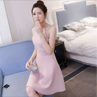 BNIP Light Pink Sexy Backless Halter Neck Sleeveless Thin Strap Thin Waist Dress