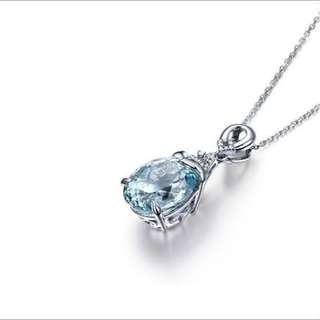 💎BN Waterdrop Shaped Aquamarine Gemstone Diamond Sterling Pendant Chain Necklace