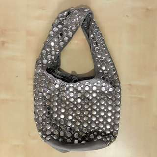 SIRICCO leather silver studded grey bag