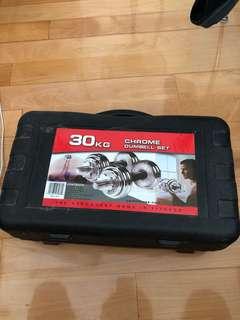 健身器材 chrome dumbbell set 30 KG