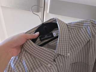 Auth Balenciaga plaid grey collared top