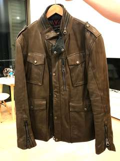 Gorgeous brown leather men's jacket