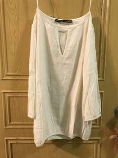 Zara白色泡泡抓皺雪紡上衣
