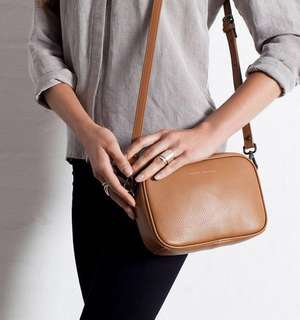 Leather Crossbody Bag (Tan)
