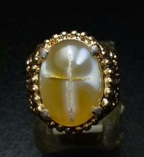Cincin Agate Chalcedony Motif Salib