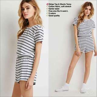 stripe top & short terno
